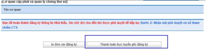 Hình 2b: Thanh toán trực tuyến phí đăng ký
