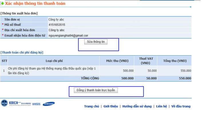 Hình 4: Xác nhận thông tin thanh toán