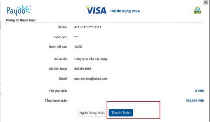 Hình 7: Xác nhận thông tin thanh toán