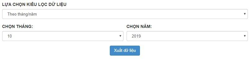 Gói X1 Xuất dữ liệu theo tháng